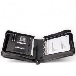Leder-Präsentationsmappe für Laptop / Ringmappe aus Rindleder 4329