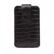 Lederhülle für Smartphone mit Lasche / Hülle aus Rindleder Kroko / schwarz