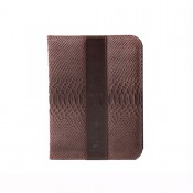Lederhülle für Tablet PC / Hülle aus Rindleder Echse / dunkelbraun 6055-3