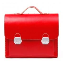 Rote Leder-Schultasche / Anfängerranzen aus Vollrindleder
