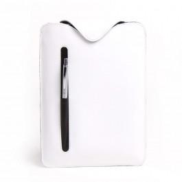 Leder-Tasche für iPad / Tablet PC - Hülle aus Vollrindleder weiß / schwarz 6051-20