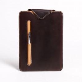 Leder-Tasche für iPad / Tablet PC - Hülle aus Vollrindleder dunkelbraun / beige 6051-3