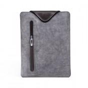 Leder-Tasche für iPad / Tablet PC - Hülle aus Vollrindleder grau/schwarz 6051-2
